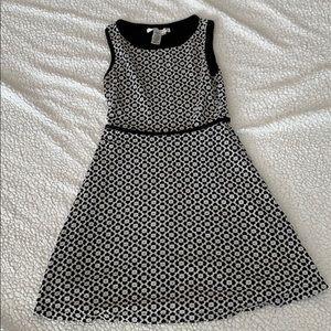 Black and white floral skater dress